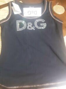 D & G singlet tank top black crystal logo size L designer