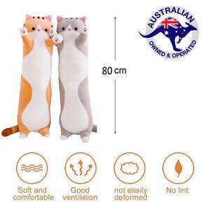 80cm Cute Cat Pillow Plushie Plush Soft Long Body Pillow AU STOCK