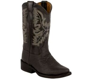 Kids Toddler Cowboy Boots Bull Buffalo Print Leather Western Point Toe Botas