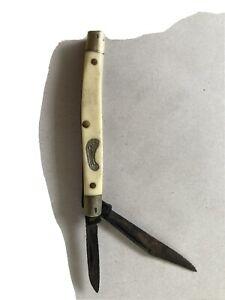 Vintage Frontier Folding Pocket Knife 2 Blade, Ivory Handle