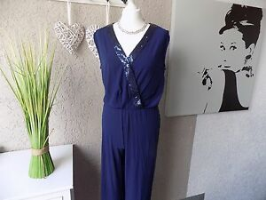 Stretch Jumpsuit Overall Gr. 44 48 50 52 Pailleten Einteiler Sheego marine (546)