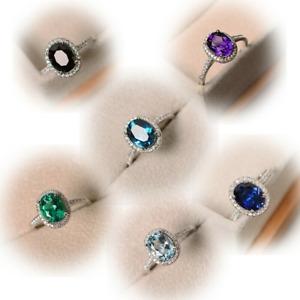 Luxury 925 Sliver Peacock Blue Oval Topaz Ring Wedding Engagement Wholesale 6-10