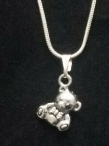 Teddy Bear Necklace Pendant on Sterling Silver Chain Two Sided 3D