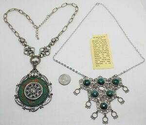 2 ENCHANTING VTG NECKLACES; ASIAN-INSPIRED w/LARGE PENDANT & A SILVERTONE THAI