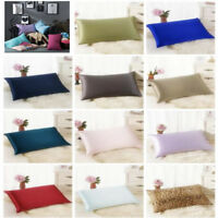 Rectangle Cushion Cover Throw Pillow Case Silk Sofa Bed Pillowcase Simple Solid