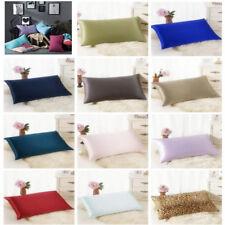 Rectangle Cushion Cover Throw Pillow Case Solid Simple Silk Sofa Bed Pillowcase