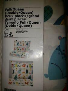 IKEA Lattjo Full Queen Duvet Cover,2 Pillowcase Animal Frog Owl Bug Blue Orange
