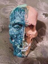 Skull Skeleton Two face gold copper muscle bone Hand Painted