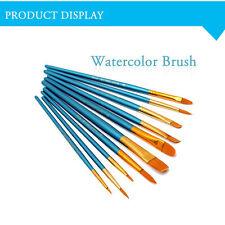 Fashion 10pcsTip Nylon Paint Artist Brushes SET Flat Small/Large Thin/Thick Tool