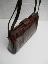Mahogany Brown Eelskin Four-Compartment  Handbag / Shoulder Bag - Made in Korea