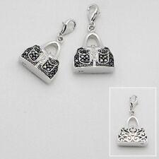 Handbag Purse Charm Sterling Silver Black Cz