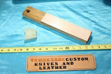 beautiful leather and oak strop block-2 sided-nice!!