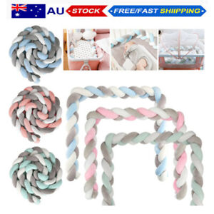 2/3/4M Kid Cot Bumper Braid Pillow Nursery Bed Crib Bedding Padded Protector