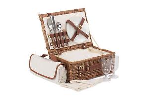 Beautiful 2 Person Classic Wicker Picnic Hamper/Basket Wedding/Gift