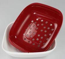 NEU Tupperware Allegra Servierschale mit Sieb Siebeinsatz Obstschale rot weis