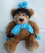 """Mary Meyer Plush Teddy Bear Blue Brown Hat Scarf Winter soft Floppy 17"""" EUC"""