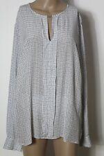 OUI Bluse Gr. 46 weiß-schwarz Langarm Bluse/Tunika mit Karo Muster