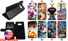 Galaxy S20 S7 S9 Note10 S10 Leather Wallet Flip Phone Case Hero Academia Anime