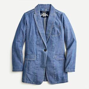 J CREW Long Parke Blazer in Denim Chambray, Size 0, NWT!!