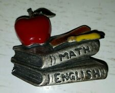 Pewter Brooch Pin - School Teacher Math English Books Apple Pencils
