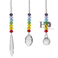 3PCS Handmade Crystal Chakra Rainbow Suncatcher Hanging Pendant Window Decor