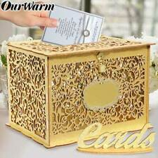 Glittery Gold Wedding Card Box with Lock Wood Gift Card Box Holder Money Box