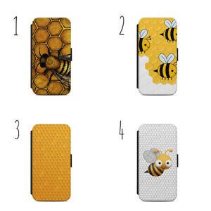 Bumble Bee Honeycomb Honey Wallet Flip Case Cover IPhone Samsung