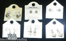 Lot 6 Pairs New One Way J Collection Fashion Costume Jewelry Pierced Earrings