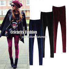 Black Leggings Full Length Size 12 14 10, Retro High Waisted Velvet Winter -leg8