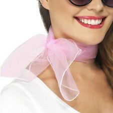 50s 1950s Ladies Fancy Dress Neck Scarf Chiffon Style Pink New by Smiffys