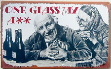 One Glass My A*Tin Sign funny metal poster art bar pub beer wine wall decor Ohw