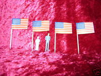 AMERICAN FLAGS 4 S O Scale Accessories Train Scenery Flag Trains Railroad New i