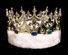 Pageant Royal King's Crown Gold plated metal - faux fur & jewels