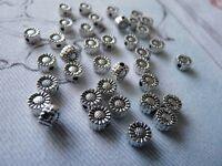 15pcs Sunflower Spacer Beads Flower Charms Tiny Metal Beading Supplies Silver