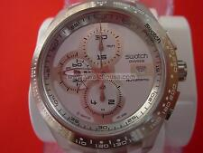 SWATCH CHRONO AUTOMATIC RIGHT TRACK WHITE  - 2010 - SVGK406 - DIAPHANE - NEW