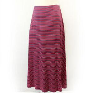 Talbots Plus Blue/Red Stripe Elastic Waistband Maxi Skirt 2X