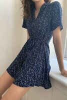 URBAN OUTFITTERS Archive Navy Micro Floral Tea Dress Ditsy Print BNWT S UK 8-10