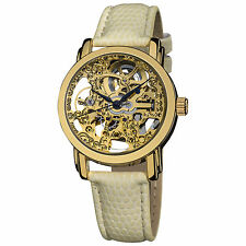 Women's Akribos XXIV AK431YG Skeleton Automatic Yellow Gold Cream Strap Watch
