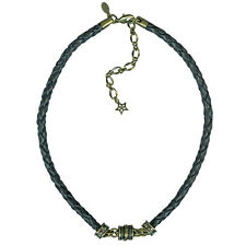 KIRKS FOLLY BRAIDED BLACK LEATHER MAGNETIC INTERCHANGEABLE NECKLACE  BRASSTONE