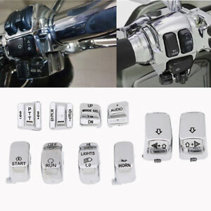 For Harley FLHT FLHTC FLHX Chrome Hand Control Switch Housing Button Cover Caps