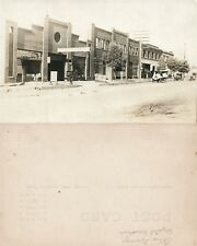 GAS STATION STREET SCENE RPPC VINTAGE REAL PHOTO POSTCARD CRYSTAL GASOLINE
