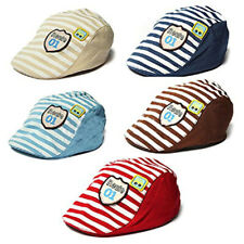 KQ_ BG_ GC- AU_ Qu_ Cute Baby Infant Boy Girl Stripe Beret Cap Peaked Baseball H