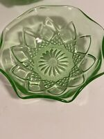 5 Hazel Atlas Diamond Arch Green Uranium Depression Glass Berry Bowls Glows