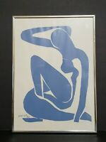 Vintage 1952 Henri Matisse Abstract Blue Woman Lithograph Signed H. Matisse
