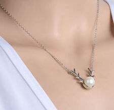 Fashion Antler Deer Horn Pearl Silver Pendant Charm Necklace Chain Gift Box A26