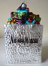 """New """"Neiman Marcus Shopping Bag 2019� Glass Christmas Ornament:Mouth-Blown Glass"""