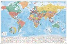 Weltkarte Poster Flaggen 91 5 X 61 Cm