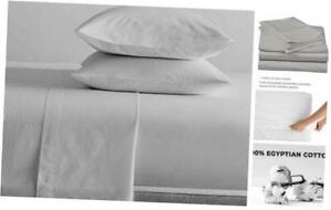 800 Thread Count 4pc Luxury Sheet Set, 100% Egyptian Cotton, Queen Silver