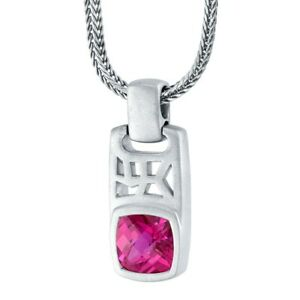 """Men's Created Ruby Tag Pendant Necklace in Sterling Silver, 22"""""""