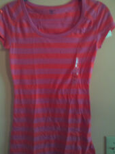 NWT Gap ladies juniors short sleeve pink and lite pink striped shirt; XS